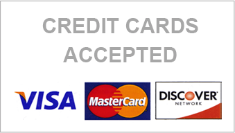 Credit Cards Accepted Visa, Mastercard, Discovery